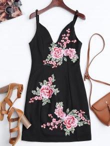 Floral Mini vestido de Bodycon bordado
