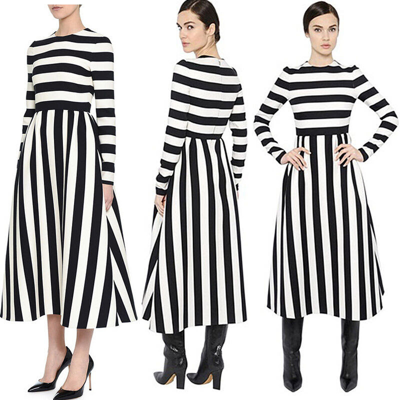 Long striped and bodycon sleeve black white dress the yard style