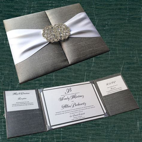 silk pocket box invitation with crystal buckle clasp