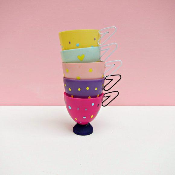 easter egg tea cups