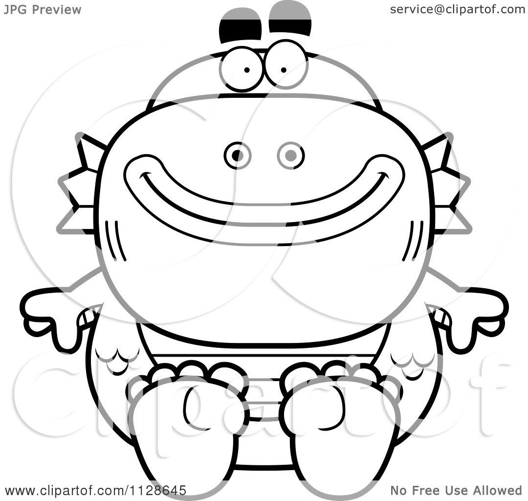 Cartoon Clipart Of An Outlined Sitting Fish Man Monster ...