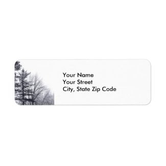 Snow-covered Trees: Vertical return address label