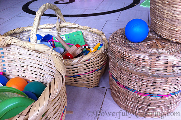 Exploring Baskets with a 10 month old Sensory Activity