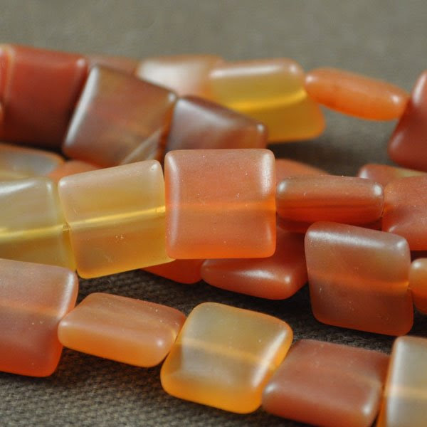 s33602 Stone Beads - 12 mm Square - Matte Carnelian (strand)