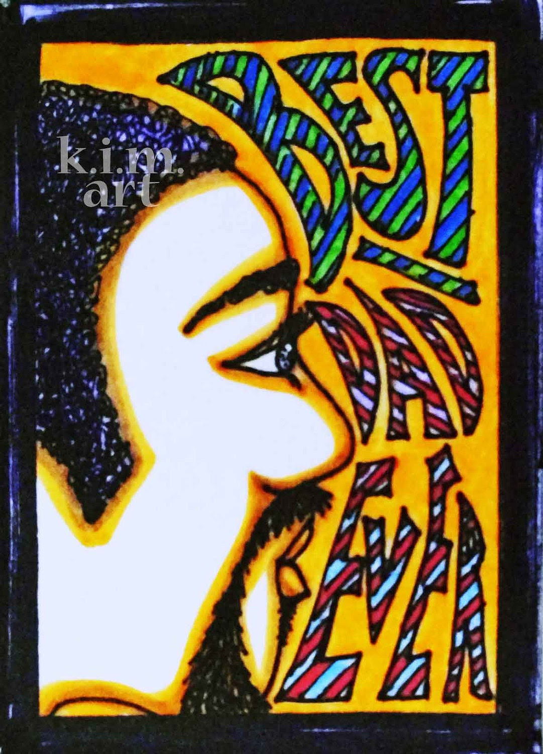 BEST DAD EVER aceo atc father's day card african american black brother funky retro 1970 70s soul glo red orange blue green purple lavender
