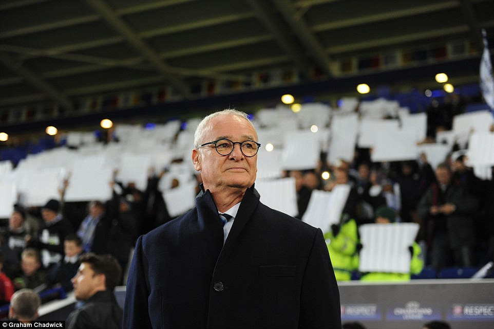Leicester boss Claudio Ranieri watches and waits for the match to begin at the King Power Stadium ahead of his side's victory