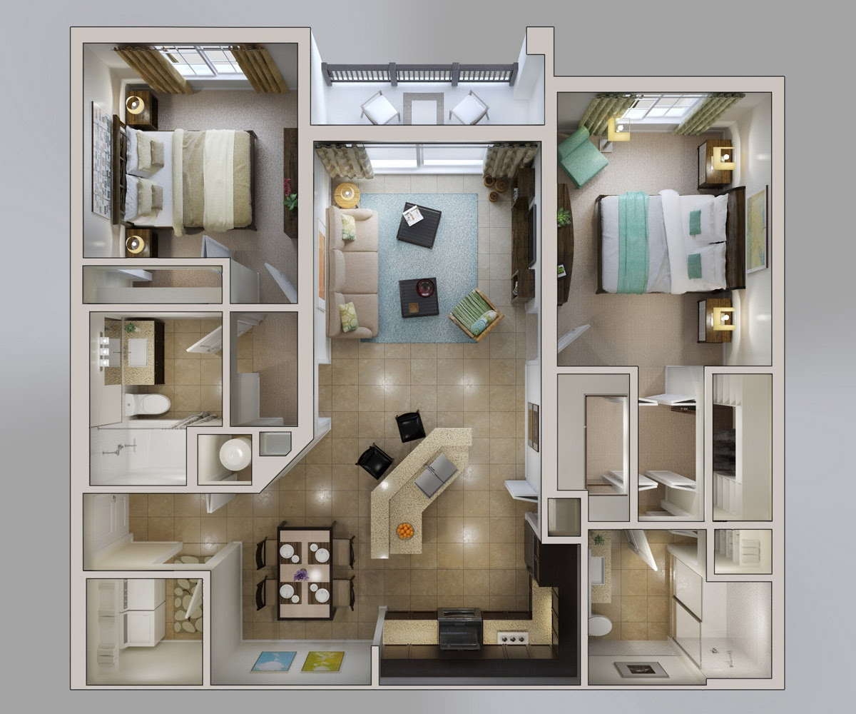 "50 Two ""2″ Bedroom Apartment/House Plans | Eshwar Chaitanya"