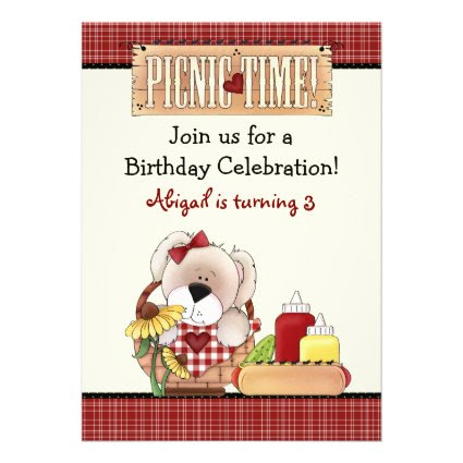 Cute Puppy Dog Picnic Birthday Invitation ~ Girls