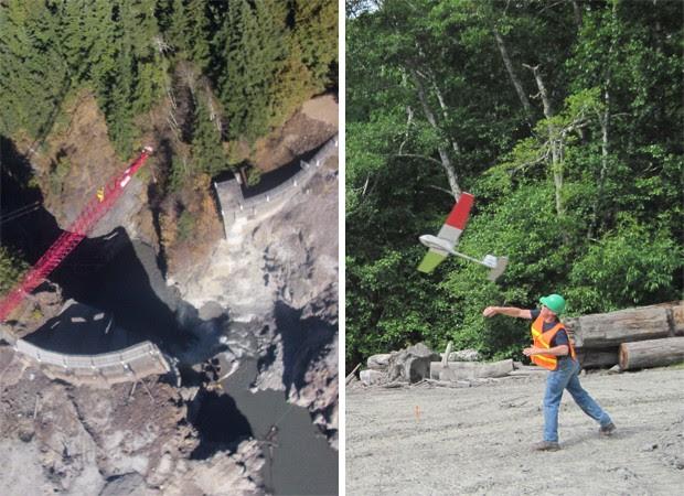 À esqurerda, imagem realizada por um avião não-tripulado da USGS em setembro; à esquerda, funcionário lança aeronave no mesmo local, para fazer imagens aéreas, meses antes (Foto: Divulgação/Susan Goplen/USGS)