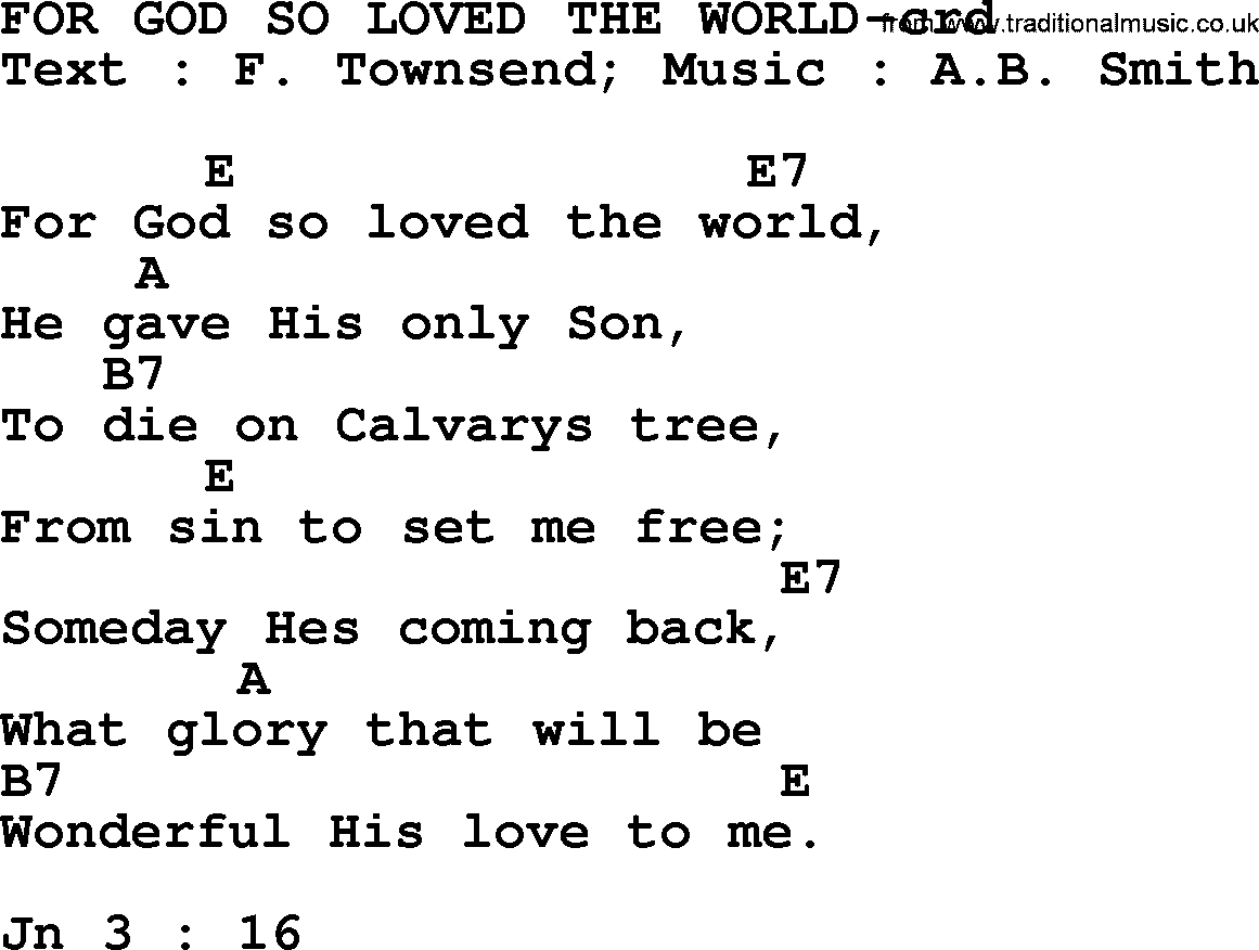 Top 500 Hymn For God So Loved The World Lyrics Chords And Pdf