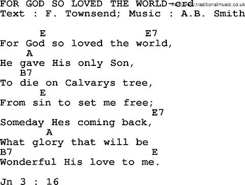 For God So Loved The World Lyrics And Chords