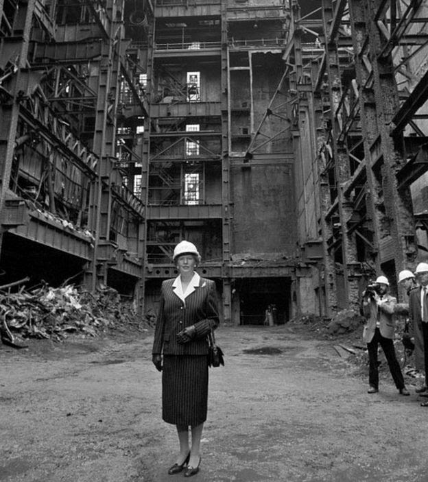 Margaret Thatcher stands in the shell of Battersea Power Station in 1988