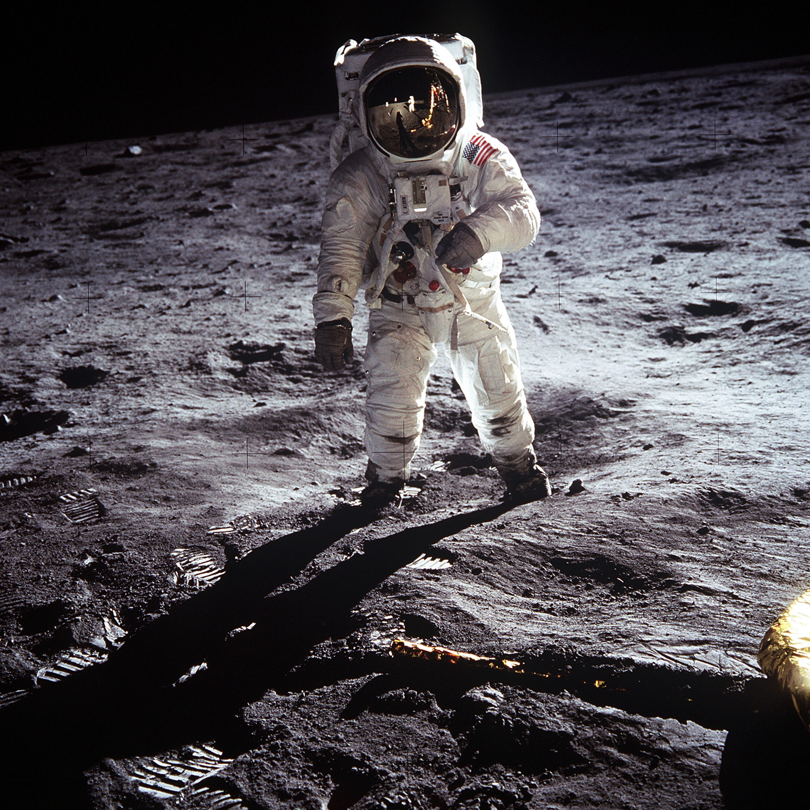 buzz aldrin over the moon