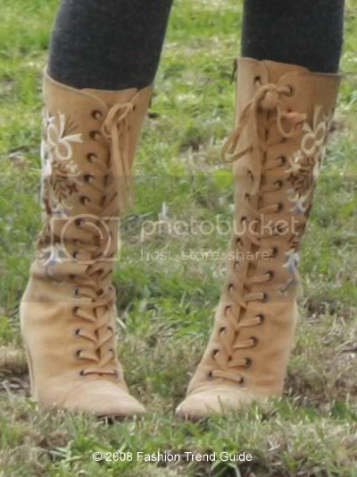 embroidered lace up boots