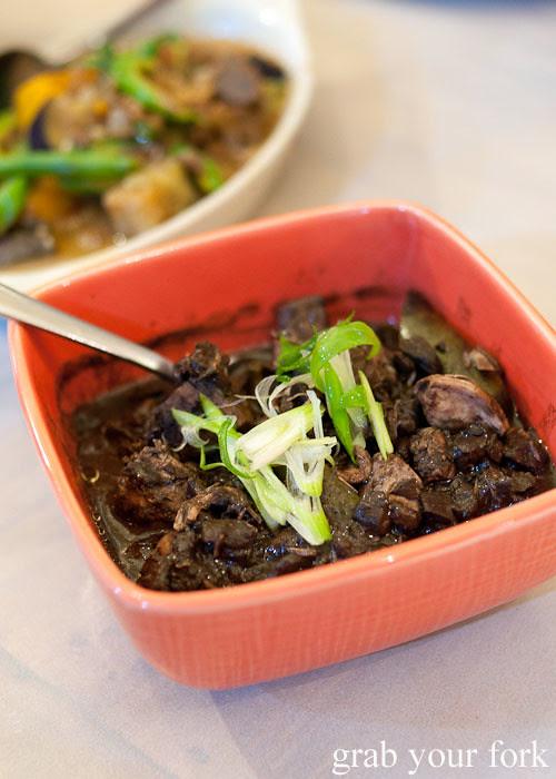 dinuguan pork neck with pork blood jelly at lamesa phillipine cuisine haymarket chinatown