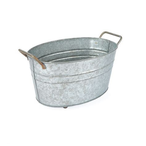 Vintage Inspired Galvanized Wash Tub   Baskets, Buckets