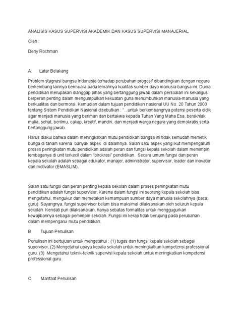 Analisis Kasus Supervisi Akademik Dan Kasus Supervisi