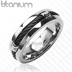 Men's 7mm Solid Titanium Black IP Wire Rope Inlay Wedding