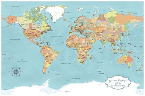 Cotton Anniversary World Push Pin Map   Multiple Color