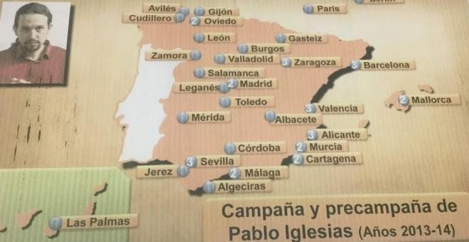 Mapa presentado por Riobóo en la comisión del Senado sobre financiación de partidos.