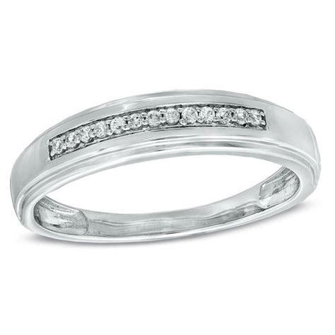 Men's Diamond Accent Wedding Band in 10K White Gold