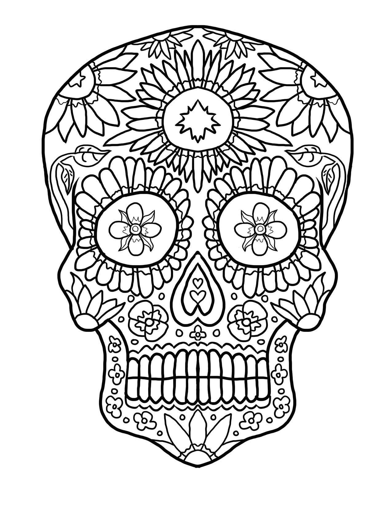 14 Imágenes De Calaveras Para Colorear Dibujo Para Imprimir