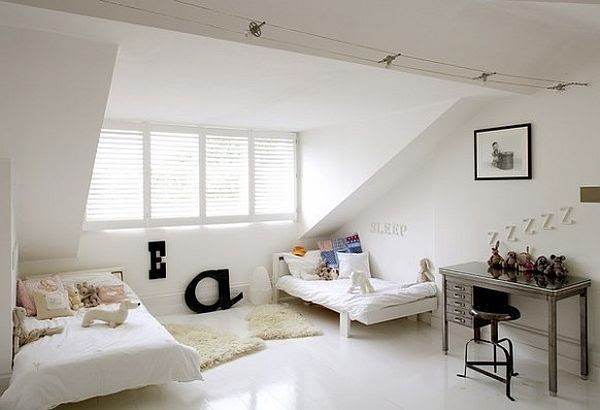 white attic bedroom idea Modern Cool & Fancy Functional: 32 Attic Bedroom Design Ideas
