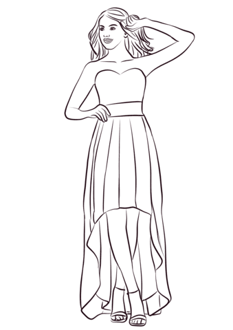 Strapless High Low Prom Dress coloring page | Free ...