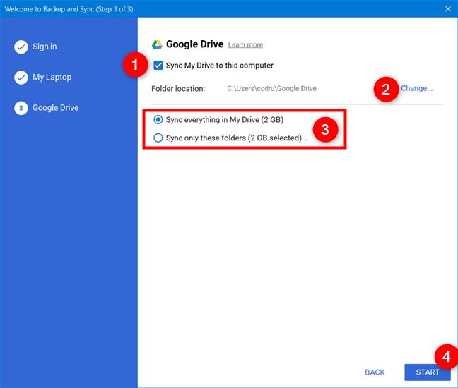 Elegir sincronizar Google Drive con su computadora