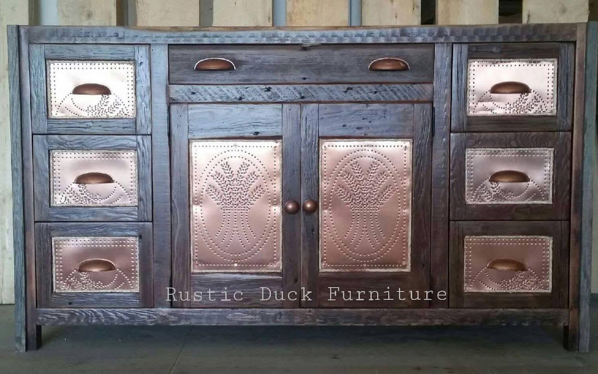 antique copper and rustic wood dresser