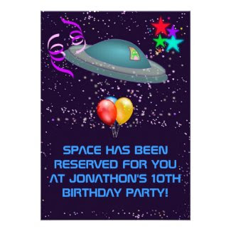 Space Alien personalize Kids Birthday Party Invite