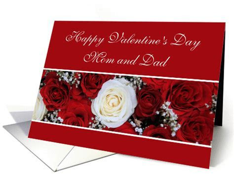 Mom & Dad Happy Valentine's Day red and white roses card