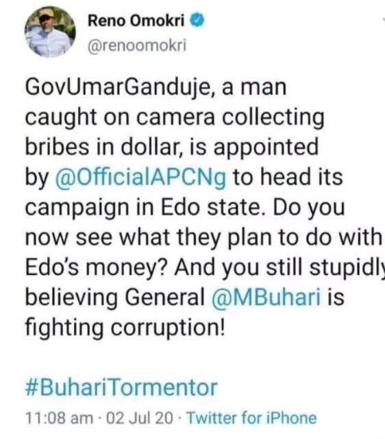"""Buhari Put Corrupt Ganduje In Charge Of Edo Campaign Money"" - Reno Omokri"
