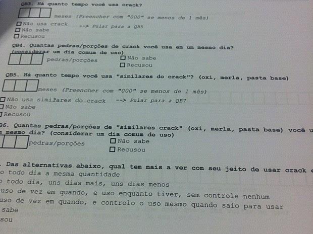Exemplos de perguntas usadas na pesquisa direta sobre o perfil dos usuários de crack (Foto: Rafaela Céo/G1)