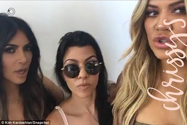 Fun times: Kim shared a Snapchat video from behind the scenes