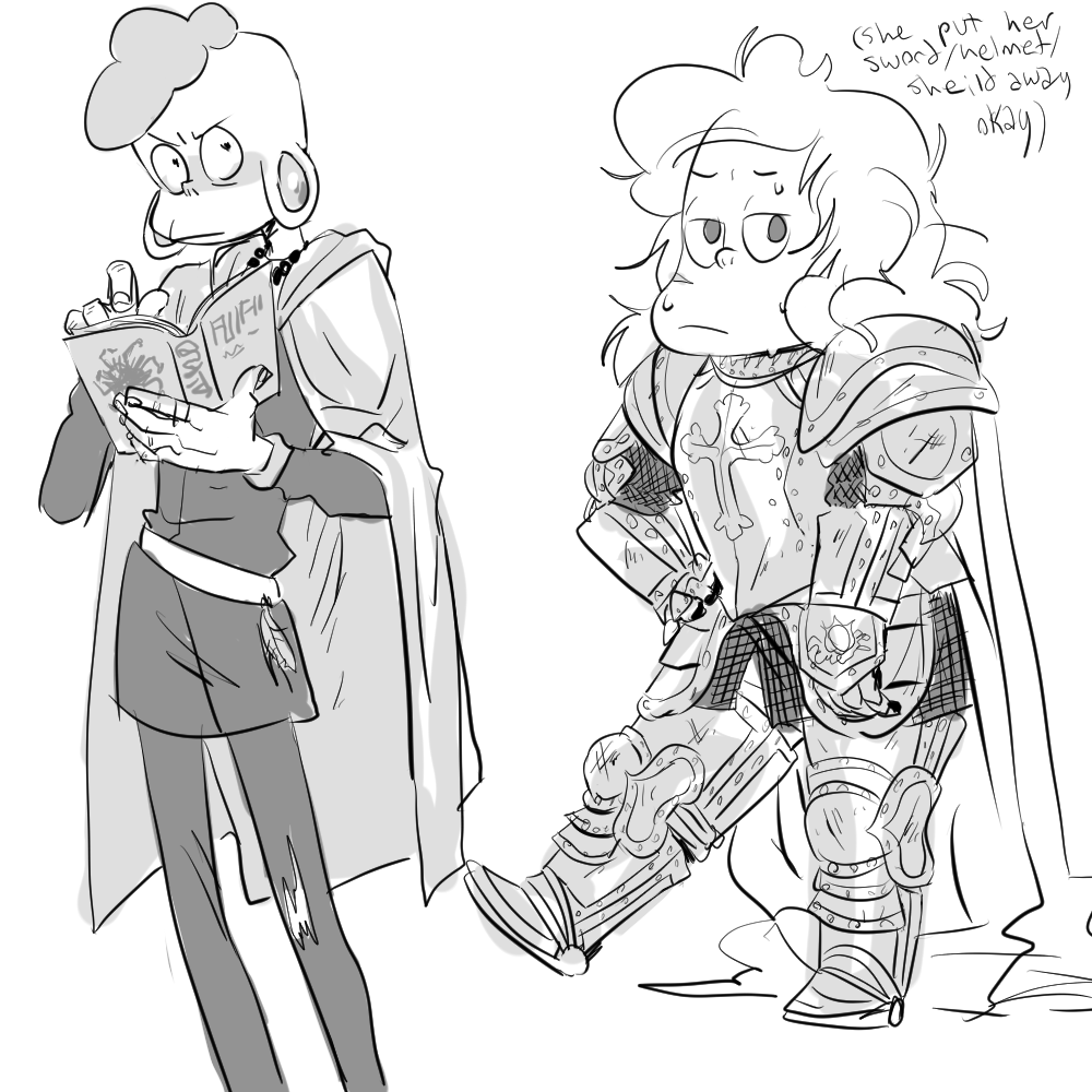 "glassesblu: ""nelhah: ""sadie as a knight with bad helmet hair and lars as a shitty dark wizard who's only in it for the aesthetic (his real talent lies with white magic but that's Lame) "" whoooo! also..."