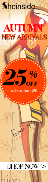 Save 25% off all Autumn New Arrivals at SheInside.com!  Enter code AUTUMN25 at checkout.