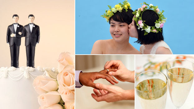 Clockwise: Gay wedding cake, lesbian brides, champagne flutes, two male hands with a wedding ring