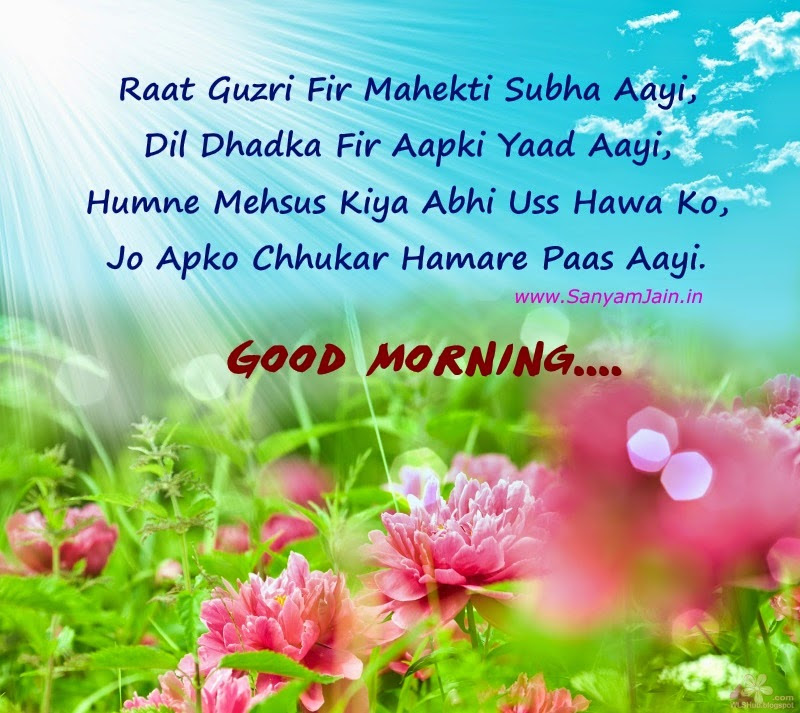 Good Morning Shayari In Hindi On Beautiful Flowers And Sunrise Picture
