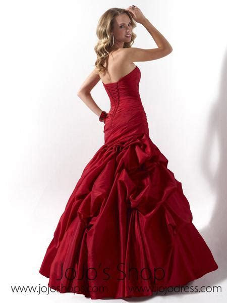 Red Ruched Strapless Fit And Flare Formal Evening Dress