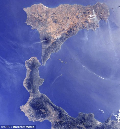 A plume of smoke is visible rising from Mount Etna on August 13 at Southern Italy