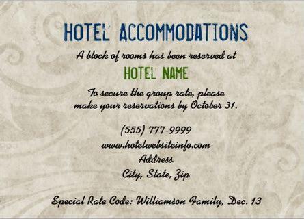 Hotel block wording for enclosure card   Future Mrs