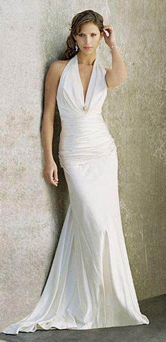 Simple Halter Wedding Dress for Second Wedding. Elegant