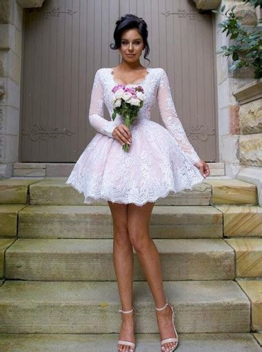 Nectarean V neck Long Sleeves Short Pink Ball Gown