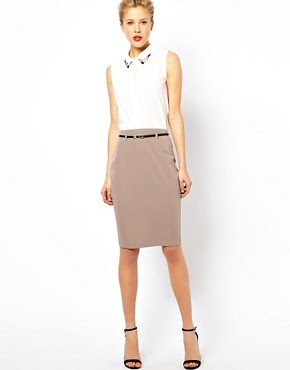 Image 1 of ASOS Belted Pencil Skirt