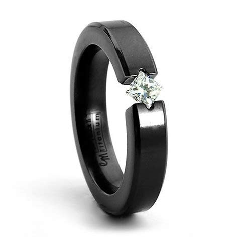 ALLURE Black Zirconium & Diamond Diagonal Ring   For women