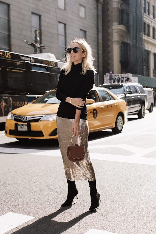 Le Fashion Blog Black Turtleneck Gold Sequin Skirt Black High Heeled Boots Via Damsel In Dior