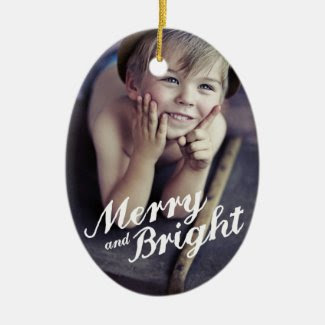 Merry & Bright Happy Christmas Photo Ornament Christmas Tree Ornament