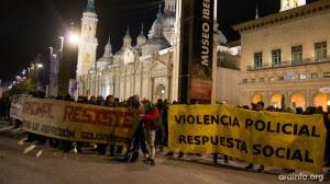 """La convocatoria del próximo sábado exigirá la retirada de todos los cargos sobre las ocho personas detenidas y el fin del """"estado de sitio"""". Foto: AraInfo"""