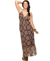 Eyeshadow Plus Size Dress, Sleeveless Printed Ruffled Maxi